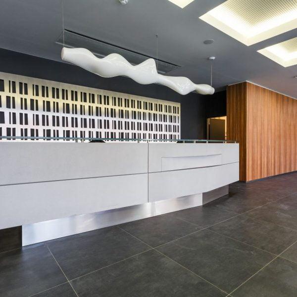Reception desk and wall cladding Futurama